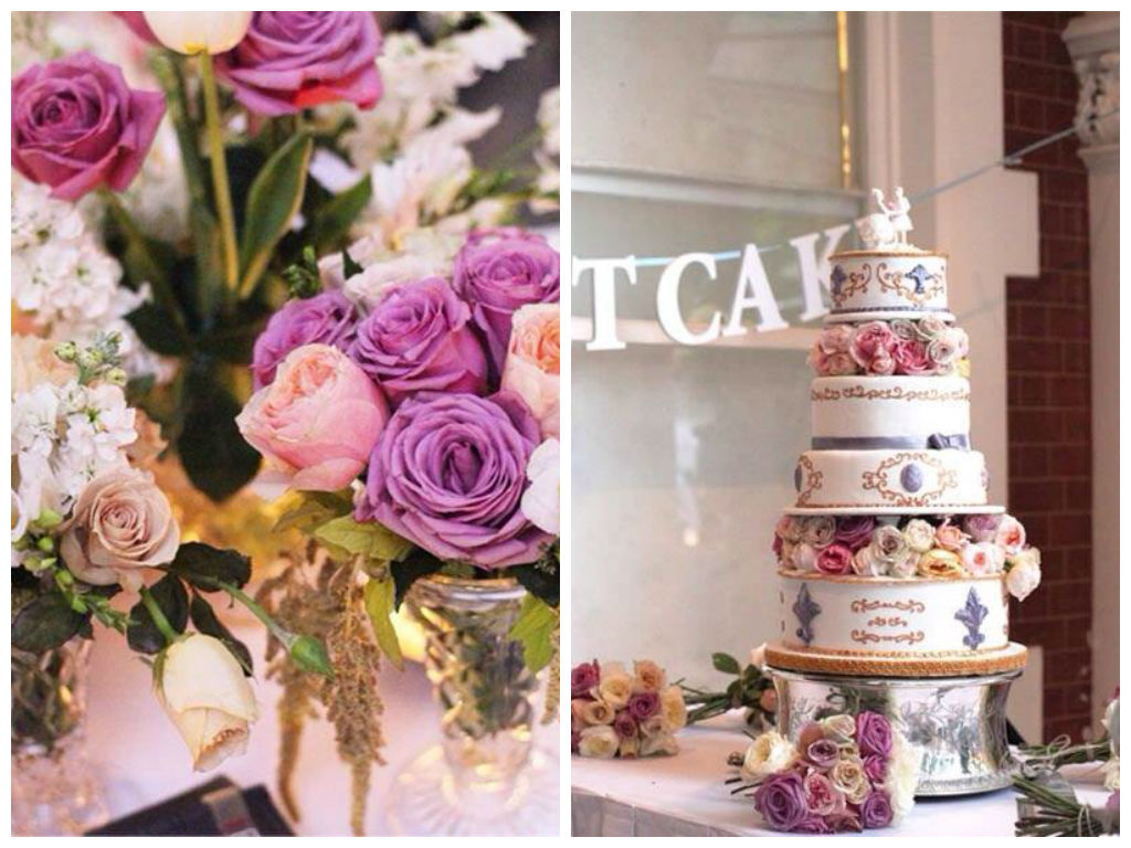 Antique Silver Wedding Cake Stand & Vintage Crystal Vases ~ Flowers by Botanica Naturalis ~ Terrace Hotel