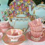Vintage Gilded Aqua ~ Pink & Chintz