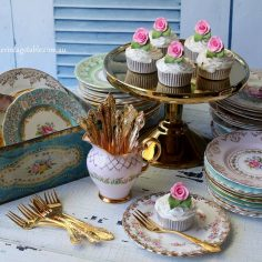 Vintage China Cake Plates & Gold Cake Forks (Silver also available)