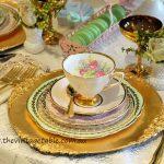 Vintage Tea Set & Gold Charger Plate