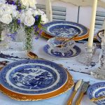 Vintage Blue & White Chinoiserie Dinnerware | Hamptons Style with Gold Charger Plates & Cutlery