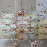 Large French Tiered Stand 83cms High   $15 without plates   $24 with vintage 26cm wide china plates in most colors. Ideal for large events and buffet tables.