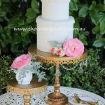 Gold & Crystal Chandelier Cake Pedestal with Gold Plated Cake Knife & Server