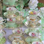 Vintage Mint Green Tea Sets & Vintage Green Glass Vases