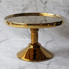 Medium Gold Pedestal   24cm diameter   $15   Qty: 2