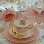 Pink & Gold Entree Plates, Tea Sets & Gold Cutlery