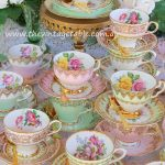 Vintage Pink & Mint Green Trios with Gold Cutlery