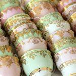 Vintage Gilded Pink & Mint Bone China