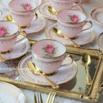 Luxury Vintage High Tea | Pink Tulips & Gold Mirrored Tray