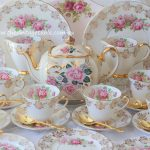 Vintage Pink Roses & Gilded White with Gold Plated Cutlery