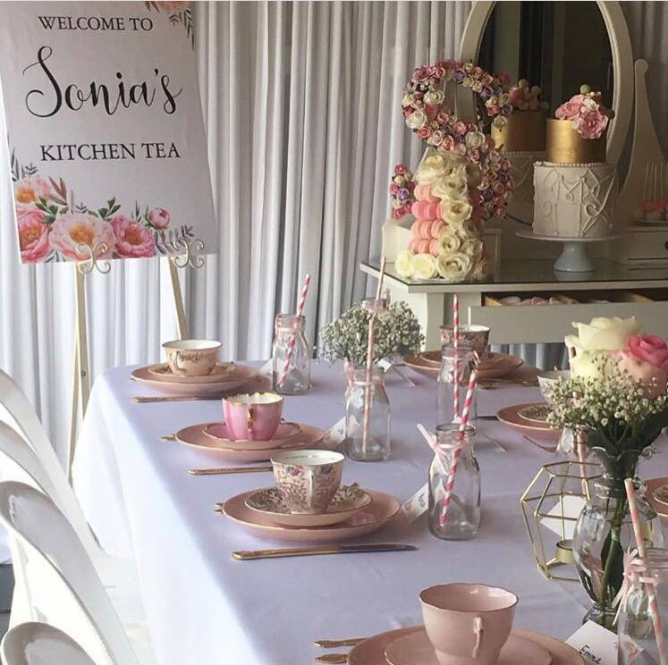 Sonia's Kitchen Tea for 60 guests with our pink and gold vintage tea sets and tableware
