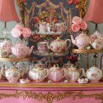 Vintage Pink Teapots & Gold Cake Stands