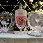 Cut Glass Drinks Dispenser ~ Vintage Silver Trays & Champagne Coupe Glasses