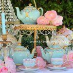 Vintage Teapots ~ Gold & Crystal Pedestal Stand
