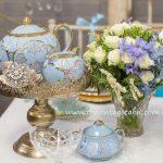 Vintage Blue Teaset & Crystal Vase ~ Florals by Botanica Naturalis