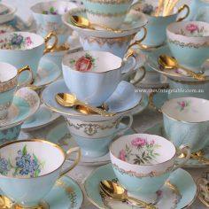 Vintage Blue Tea Set Trios