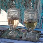 Vintage Style Cut Glass Drinks Dispenser & Silver Tray