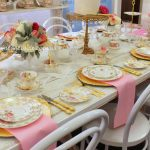 White, pink and gold luxury high tea bridal shower.