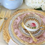 Vintage Dinner & Entree Plates with Gold Cutlery