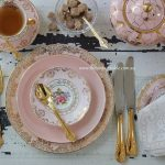 Pink & Gold Entree plates, tea sets, gold cutlery and dinnerware