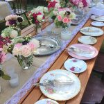 Vintage Botanical Collection place settings, silver cutlery & trays at a country wedding for 130