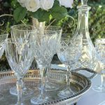 Authentic vintage full lead cut crystal wine glasses, vintage silver trays & crystal decanters.