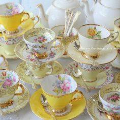 Vintage Yellow Tea Set Trios