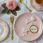 Pink & Gold Rimmed Entree or Dessert Plate | 100 Available