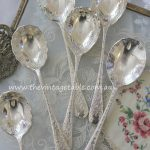 Ornate engraved & scalloped vintage silver spoons for dessert or cake | Quantity: 100