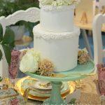 Green Milk Glass Pedestal   Cake by De La Rosa Cakes