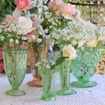 Vintage Green &Pink Depression Glass Vases