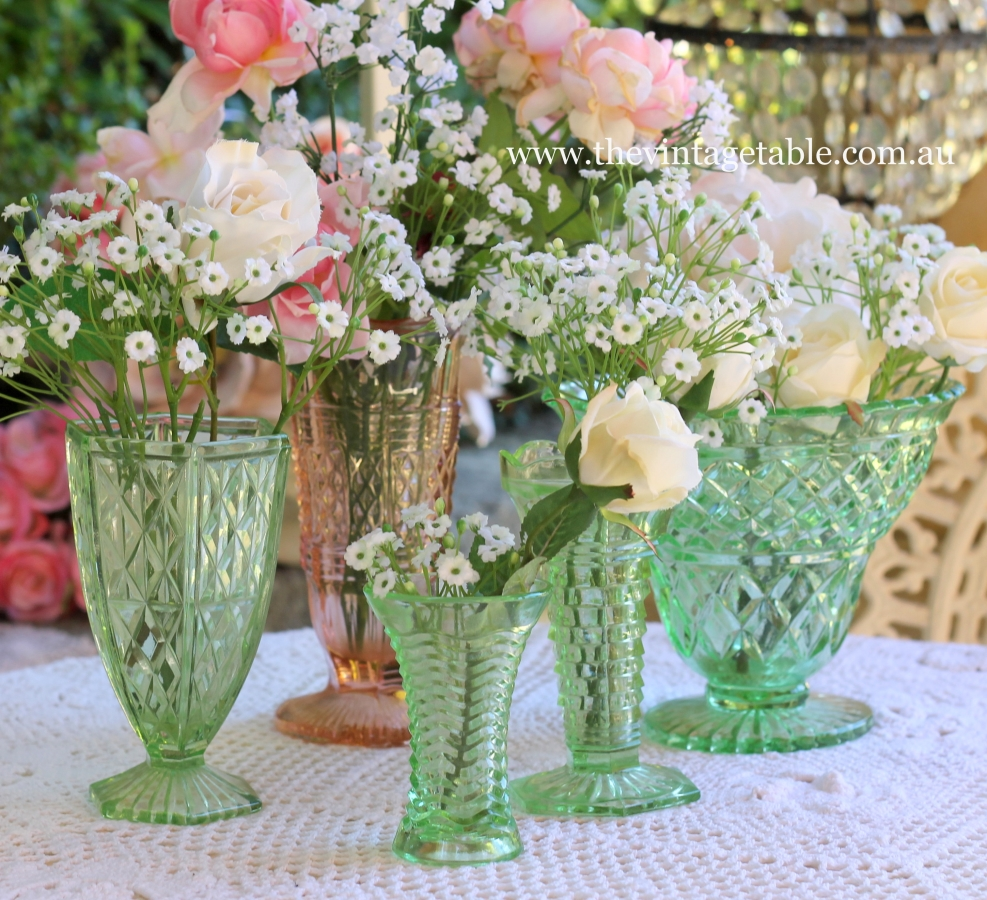 Vintage silver crystal hire perth the vintage table vintage green pink depression glass vases reviewsmspy