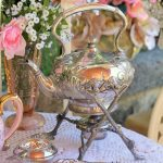 Antique Victorian Hot Water Kettle on Stand with Spirit Burner