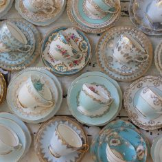 Vintage blue bone china tea set trios