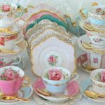 Mismatched vintage tea sets.