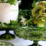 Vintage Forest Green Pedestal Cake Stands | 2 Available