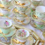 Vintage Minty Green Tea Sets, Gold Cutlery & Mirrored Gold Trays