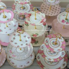 Vintage pink and gold three tier cake stands