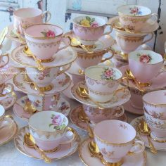 Vintage bone china pink and gold tea sets