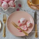Pink & Gold Entree Plate (100 Available) with vintage gold cutlery and tea ware.