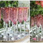 Pink Crystal Champagne Flutes (100 Available) & Vintage Silver Trays