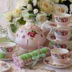 Vintage Pink Roses & Macaron Tray