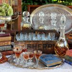 Vintage Crystal Decanters, Sherry Glasses,Vintage Sherry Crate
