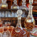 Vintage Crystal Port or Sherry Glasses, Decanters & vintage sherry crate