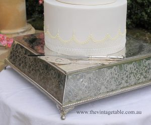 Square Antique Silver Wedding Cake Plateau 40cm square.