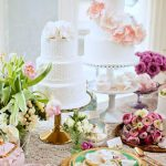 Dessert Table at The Terrace Hotel | Gold & Milk Glass Pedestals