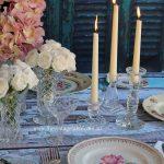 Vintage dinnerware, cutlery, crystal vases & crystal candlesticks.