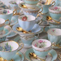 Vintage Blue Tea Set Trios