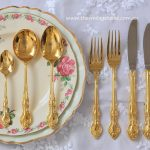 Vintage 24ct Gold Plated Cutlery & Dinner Plates