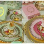 Gold Charger plates, dessert plates & tea trios with vintage gold plated cake forks.